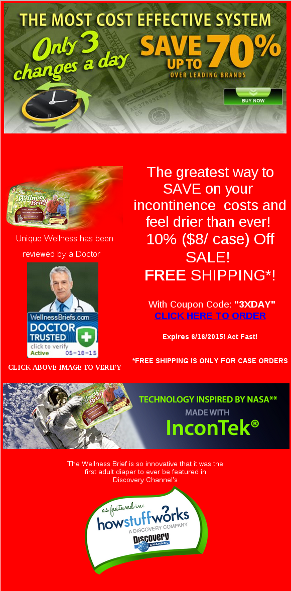 incontinence products in the world are on sale!